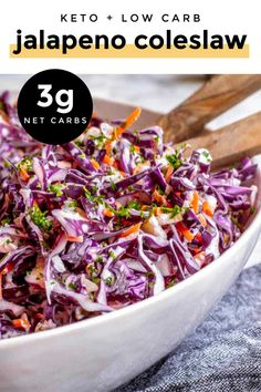*NEW* You NEED this jalapeno coleslaw recipe for those hot months ahead! It's refreshing, takes under 15 mins to make and only gets better with time! That's my kind of dish! #jalapenocoleslaw #ketocoleslaw #lowcarbcoleslaw #keto #lowcarb Salad Recipes Low Carb, Low Carb Dinner Recipes, Side Dish Recipes, Veggie Recipes, Keto Recipes, Healthy Recipes, Cabbage Recipes, Keto Dinner, Lunch Recipes