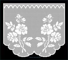 Crochet Home, Hand Crochet, Knit Crochet, Crochet Flower Tutorial, Crochet Flowers, Filet Crochet, Crochet Stitches, White Eyeliner, Crochet Curtains