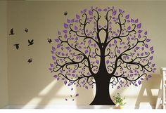 purple living room wall decals | ... wall sticker room bedroom living room color black purple includes tree