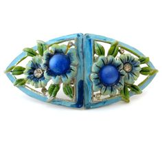 CORO DUETTE Enamel Flower Brooch Vintage 1940s Moonglow Rhinestone Fur Clips