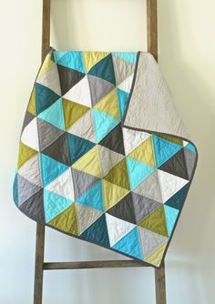 craftyblossom:aqua and olive :: a pyramids baby quilt -- what a pretty color palette
