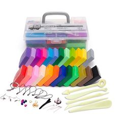 24 Colors Polymer Clay DIY Soft Modelling Clay Set with 5 pcs Tools Gift Box for Child Nontoxic Slime Toys Malleable - Kid Shop Global - Kids & Baby Shop Online - baby & kids clothing, toys for baby & kid Slime Toy, Clay Set, Baby Shop Online, Fire Clay, Clay Tools, Diy Accessories, Working Area, Polymer Clay, Kids Shop