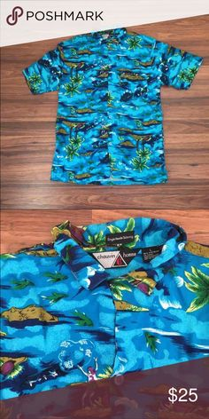 Vintage Hawaiian Tropical Button Down Button front shirt in blue with a person on a island next to a palm tree, with fish in water. Blue shirt, with green, yellow, white, brown, purple. Chauvin Homme. Categorized for visibility.   All my items are new or gently worn. They come from a smoke free home. There are no stains, holes, missing buttons, or imperfections, unless stated otherwise.   Reasonable offers through offer button only. No trades. No low balling. Bundling available.  Feel free…