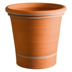 Cotswold Planters - Whilst the pot is still spinning on the wheel, the thrower enhances this simple and practical shape by applying an ash coloured slip to highlight the bands.