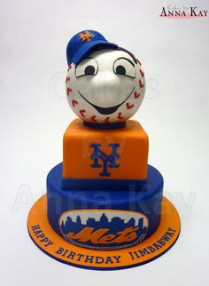 Mr. Met - A friend of mine is a die-hard NY Mets fan...and he went nuts when he saw this cake i made for his birthday!! Mr. Met is sculpted from RKT. Thanks for looking!
