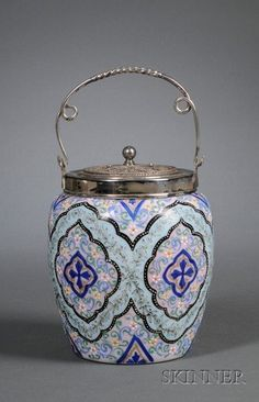 Victorian Enamel Persian Pattern Decorated Art Glass and Meriden Silver Plated Wirework Mounted Biscuit Barrel,