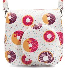 Fujifilm Instax Mini 88 Camera CaseWoodmin Groovy PU Leather Fuji Instant Camera Case with Shoulder Strap Donut ** Be sure to check out this awesome product. This is Amazon affiliate link.