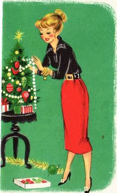 Vintage Christmas Card. I am smiling because I put a small tree up this year on a vintage table just like the one on the card; Christmas 2014. No kidding ♥