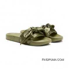 0fb1e2f3262c Puma X Fenty Bow Slides Olive Branch-Puma Silver Women Sandals Style Number  365774-01 Cheap To Buy