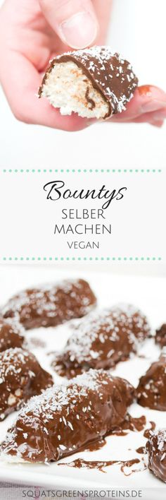 Vegane Bountys selber machen - vegan Kokos Schoko gesund lecker - Rezept - Squats, Greens & Proteins