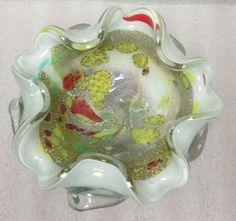 MID-CENTURY ART GLASS AVEM MURANO TUTTI FRUTTI BOWL w SILVER GOLD MICA FOR SALE