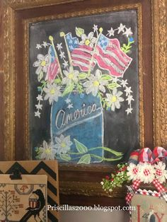 This is the chalkboard that hangs above my vintage buffet in the family room . Fourth Of July Chalkboard, Summer Chalkboard Art, Chalkboard Wall Art, Chalkboard Writing, Chalkboard Drawings, Chalkboard Lettering, Fourth Of July Decor, Chalkboard Designs, Chalk Drawings