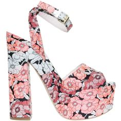 GIAMBA Flower Printed Platforms ($607) ❤ liked on Polyvore featuring shoes, heels, ankle strap platform sandals, pink platform sandals, thick heel sandals, chunky heel sandals and pink sandals