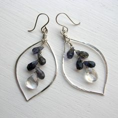 iolite and crystal quartz earrings