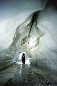 Glacier caving, Svalbard, Norway