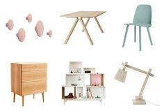 This week's Scandinavian and Danish style Mood Board, featuring Muuto...... 1. Rose Pink Dots- Muuto 2. Split Oak Dining Table- Muuto 3. Petroleum Nerd Dining Chair- Muuto 4. Reflect Oak Drawer + Dresser- Muuto 5. Danish Modular Stacked Bookshelf- Muuto 6. Wooden Table Lamp- Muuto