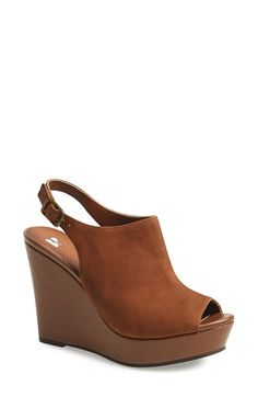 Mules - BP. Slingback Peep Toe Wedge (Women) | Nordstrom in Cognac Leather