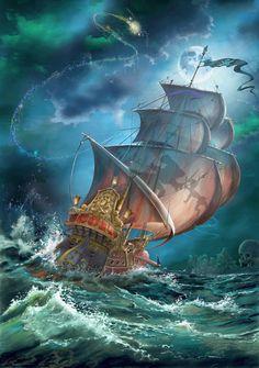 Peter Pan Pirate Moon by Guy Vasilovich - Disney Artwork