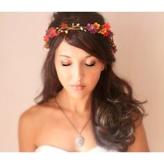 Autumn Wedding Tiara Fall Flower Crown Red Orange Purple Whimsical... ($65) ❤ liked on Polyvore featuring accessories, hair accessories, grey, weddings, floral garland, bride flower crown, bridal flower crown, bridal floral crown and flower crown
