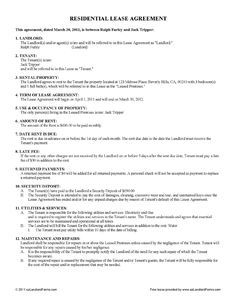 Free Lease U0026 Rental Agreement Forms | EZ Landlord Forms   Rental Agreement  Template
