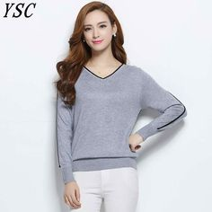 609a708f844 Women Cashmere Blend Sweater V-Neck Pullovers Long Sleeve Jumpers Womens  Knitted Sweaters With Color