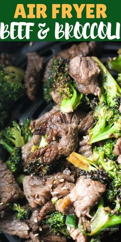 Healthy quick and crispy air fryer beef and broccoli recipe. This recipe is easy and full of Asian flavor- a great healthier alternative to your usual take out dinner. *Use any steak or stew meat or round top! Try with cauliflower too! Stew Meat Recipes Quick, Air Fryer Recipes Beef, Air Frier Recipes, Air Fryer Dinner Recipes, Roast Beef Recipes, Healthy Recipes, Quick Recipes, Keto Recipes, Steak And Broccoli