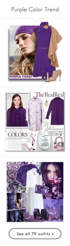 """""""Purple Color Trend"""" by yours-styling-best-friend ❤ liked on Polyvore featuring purple, Sandro, STELLA McCARTNEY, By Terry, Christian Dior, Gucci, Topshop, Louis Vuitton, Shrimps and Chicwish"""