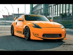 "This vehicle is called ""Fanta-Z"" with good reason! Featuring an amazing orange soda wrap by ""restyleit"" and our new 20x9.5 and 20x12 flow forming VFS-1 wheels in matte graphite, this Z looks right at home at the street or track. The wider 12"" rear wheel allows a sick deep concave profile and truly fills out the Z's wide fenders. This Z also has a rare Amuse kit and is a feature vehicle for the team at Importest in Toronto."