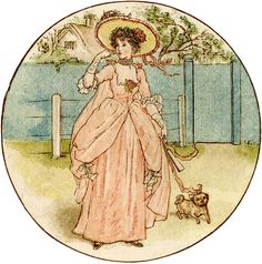 Precious Girl with Dog Picture - Kate Greenaway! - The Graphics Fairy
