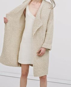 Textured cardigan coat and a sleeveless knit dress | Image via simplelovelyblog.com