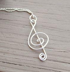 Wire Necklace Charm Pendant Silver Treble Clef by KissMeKrafty, $8.00