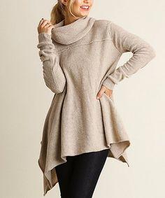 This Oatmeal Handkerchief Cowl Neck Sweater - Women's Regular is perfect! #zulilyfinds