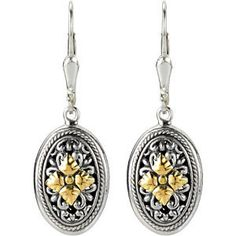 Filigree Design Earrings with 18KY Accents -90001783 from perrysemporium.com