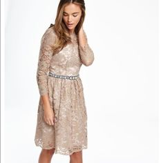 Boden USA lace dress Gold lace dress with black sash in the back. Belt not included. New with tags Boden Dresses