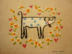Screen printed and hand painted doggy
