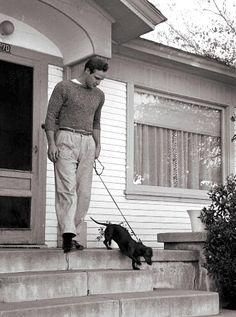 Marlon Brando with his dachshund