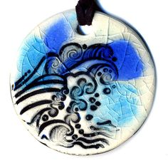 Waves Ceramic Necklace in Blues by surly on Etsy, $20.00