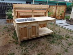 Potting bench with double sink ~ Love it!