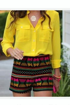 Yellow and Tribal. Cute College Outfits, Office Outfits, Cute Outfits, Casual Outfits, Summer Wear, Spring Summer, Boho, Everyday Outfits, Passion For Fashion