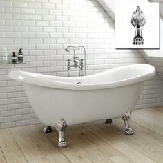Victoria Traditional Roll Top Slipper Bath - Ball Feet 10 Year warranty Bath manufactured from high quality acrylic, complimented by a pristine high gloss finish With classically curved edges, the bath rest on elegant ball feet raising the b Traditional Baths, Traditional Bathroom, Tub Shower Combo, Shower Tub, Freestanding Bath Taps, Bathtubs For Sale, Double Ended Bath, Roll Top Bath, Victorian Bathroom