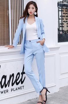 271dbdc4c30 Suits Blazer and Pencil Pant Summer Blue FA01  blazers  blazerjacket   blazerdress  dresses