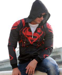 Man of Steel New Men Boys Punk Cool Superman Loose Hoodie Hooded Sweatshirt Costume Coat Jacket Full Zipper S-2XL