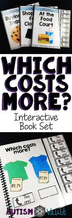Here is a set of 3 adapted/interactive books to practice comparing money amounts. Students can practice identifying which items cost more with these 10 page, color interactive books. Each books targets a different level of learning to compare money, so they can be used through introduction of the skill until they meet mastery and maintenance.