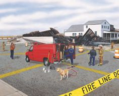 depicts a fire scene where officials from the fire department, fire marshals office and law enforcement starting an investigation of the scene. Firefighter Images, Fire Department, Law Enforcement, Investigations, Photographs, Scene, Dibujo, Fire Dept, Photos