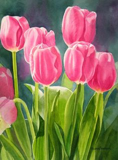 watercolor pink tulips | Select Print Type