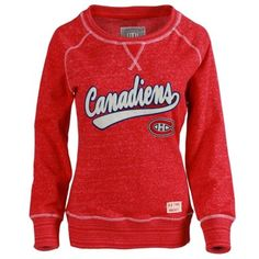 Women's Montreal Canadiens Old Time Hockey Red Seneca Snow Fleece Crew Sweatshirt