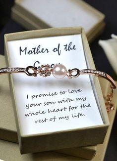Mother in law gift,Groom Mother bracelet &Card,rose gold, blush pink,pink…