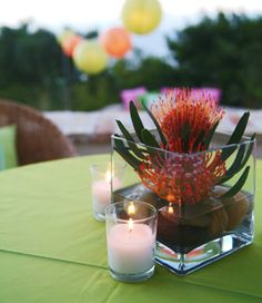 Brides: Simple Orange Protea Centerpiece. Small square vases containing orange protea plants, which were recycled from the rehearsal dinner the night before, were placed on the cocktail tables around the outdoor area of the reception site.