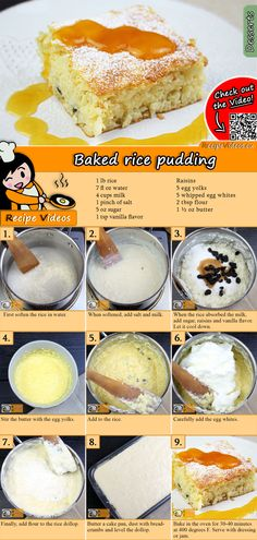 The Baked rice pudding is a classic, traditional Hungarian dessert you should make if you want something light! You can easily find the Baked Rice Pudding recipe by scanning the QR code in the top right corner! Pudding Desserts, Pudding Recipes, Dessert Recipes, Hungarian Desserts, Hungarian Recipes, Arroz Frito, Baked Rice, Rice Recipes For Dinner, Rice Cakes