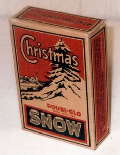 """Vintage box of Doubl-Glo mica Christmas snow from the 1940's, box is sealed and is in very good condition. Box measures 6 3/4"""" X 4 1/2"""" X 1 3/4"""". Directions for usage on side panel of box."""